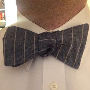Grey Striped Wool Adjustable Self Tie Bow Tie